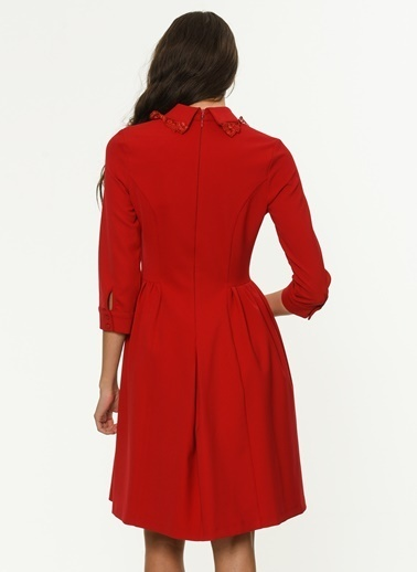 Yaka Detaylı Kloş Elbise-Jus De Pommes